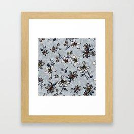 Botanical Pattern on Grey Background Framed Art Print