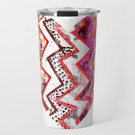 Red Heart Love Pink Zigzags Travel Mug