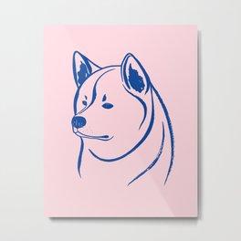 Akita Inu (Pink and Blue) Metal Print