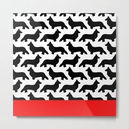 Black Welsh Corgi Silhouettes Pattern Metal Print