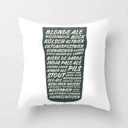 Beer Styles Throw Pillow