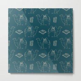 Linocut Camels No. 1 in Teal Metal Print