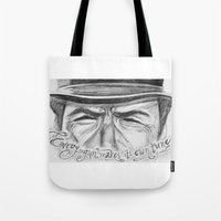clint eastwood Tote Bags featuring Clint Eastwood by Robin Ewers