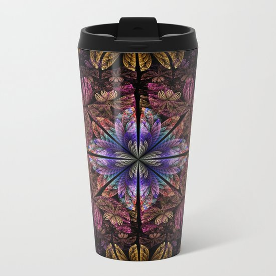 Flowers and petals in a breeze, fractal pattern abstract. Metal Travel Mug