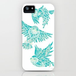 Owls in Flight – Turquoise Palette iPhone Case