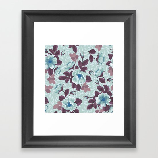 Retro Floral Pattern Framed Art Print