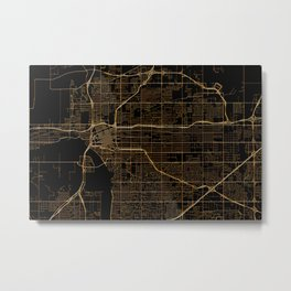 Tulsa map, Oklahoma Metal Print