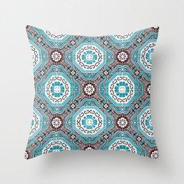 Portuguese Tiles Azulejos Aquamarine Black White Pattern Throw Pillow