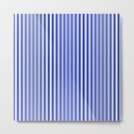 Cobalt Blue and White Vertical Nautical Sailor Stripe Metal Print