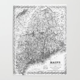 Vintage Map of Maine (1894) BW Poster