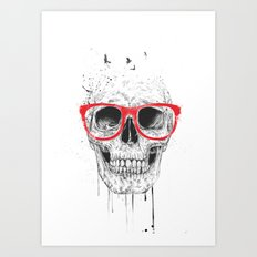 Skull with red glasses Art Print