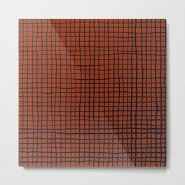 Navy and Rust (XV) Thread Pattern Metal Print