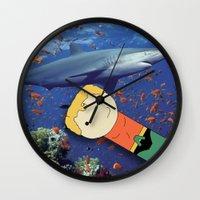 aquaman Wall Clocks featuring Aquaman Vs. Shark by Jen Talley