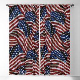 Rustic American Flags Blackout Curtain