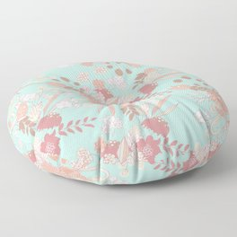 Vintage green pastel coral white rustic floral Floor Pillow