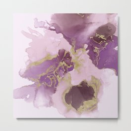 Blush, plum and gold abstract fuid art, ink painting Metal Print
