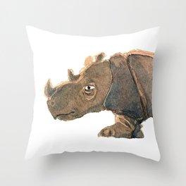 Thinking Rhinoceros Throw Pillow