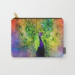 Jazzy Peacock Colorful Bird Art by Jai Johnson Carry-All Pouch