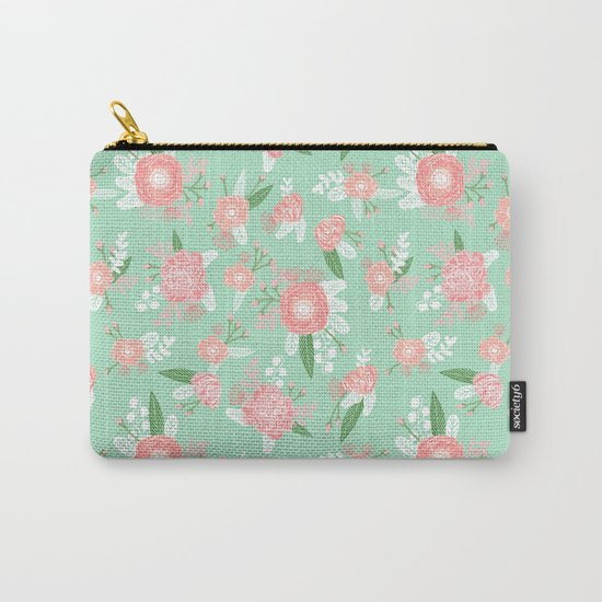 Floral bouquet pastel mint pink florals boho painted pattern basic minimal pattern print Carry-All Pouch