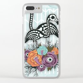 Flamingo Skeleton Halloween Composition Clear iPhone Case