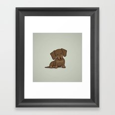 Daschund Puppy Illustration Framed Art Print