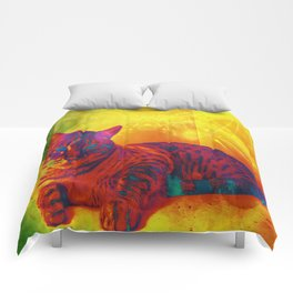 The Kitty Cat with the Infrared Spots and Stripes Comforters