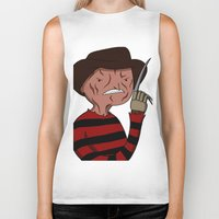 freddy krueger Biker Tanks featuring Adventure Time with Freddy Krueger by Tinsel Pencil