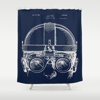 blueprint Shower Curtains featuring Patent Drawing blueprint for Welding Goggles, Steampunk by Glimmersmith