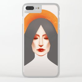 somber girl in gold and grey. Clear iPhone Case