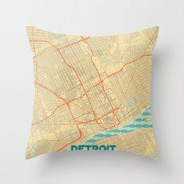 Detroit Map Retro Throw Pillow