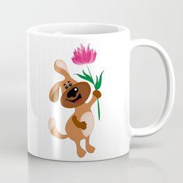 The dog holds a flower in his paw Coffee Mug