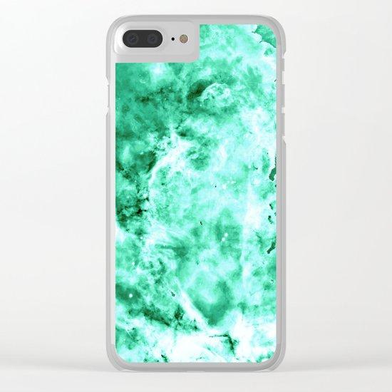 Sea Green Nebula Waves Clear iPhone Case