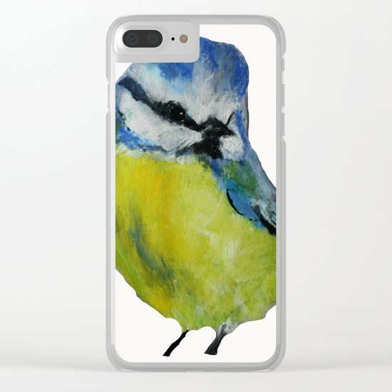 Wild English Garden Bird Blue Tit Contemporary Acrylic Painting White Edit Clear iPhone Case