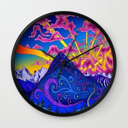 psychedelic colorful lines nature mountain trees snowy peak moon sun rays hill road artwork star sky Wall Clock