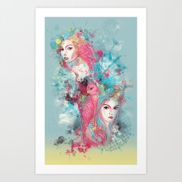 Animal beauties talking about love Art Print