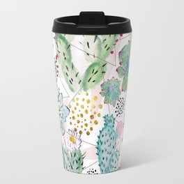 Modern triangles and hand paint cactus pattern Travel Mug