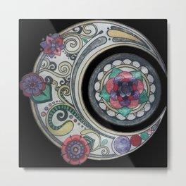 Spiral floral moon Metal Print