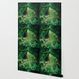 Abstract illustration of fairy fly in the forest Wallpaper