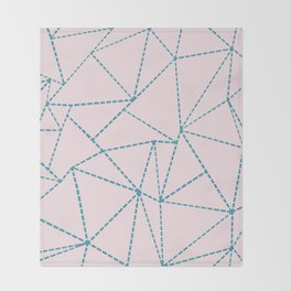 Ab Dotted Lines Blue on Pink Throw Blanket