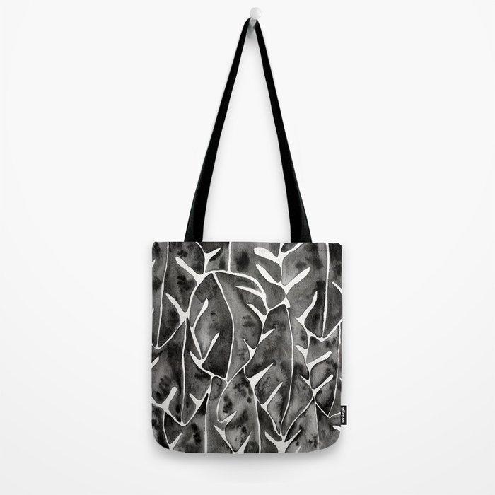 Split Leaf Philodendron - Black Tote Bag