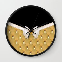 luxury gold and black bow gold Quilted Leather  Wall Clock