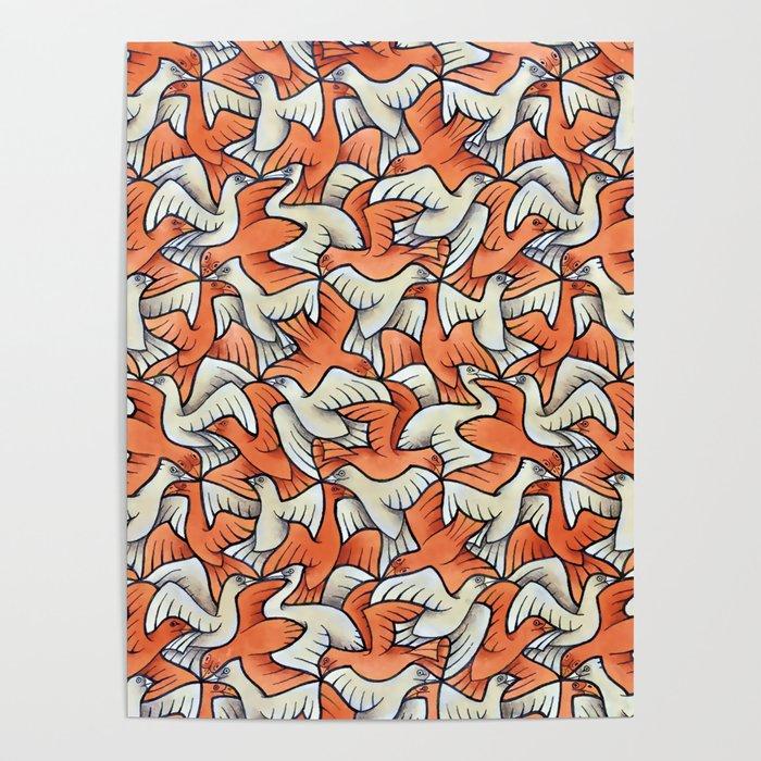 Birdwatching Bali Birds Ornithology Tessellation Poster