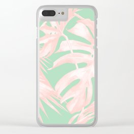 Tropical Palm Leaves Coral Pink Mint Green Clear iPhone Case
