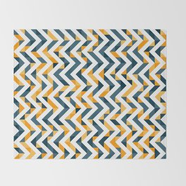Chevron Oranges and Ink - Geometric Pattern Throw Blanket