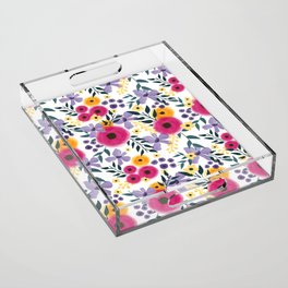 Spring Floral Bouquet Acrylic Tray