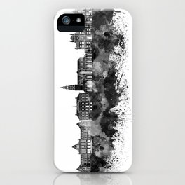Groningen skyline in black watercolor iPhone Case