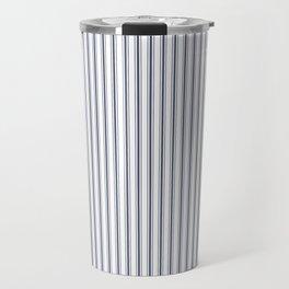 Dark Sargasso Blue Mattress Ticking Narrow Striped Pattern - Fall Fashion 2018 Travel Mug
