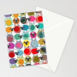Bright Sheep and Yarn Pattern Stationery Cards