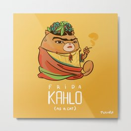 Frida Kahlo (as a cat) Metal Print