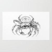 clockwork Area & Throw Rugs featuring clockwork crab by vasodelirium
